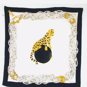 """CARTIER PANTHERE Pearl Silk Scarf Wrap - 34""""x34"""""""